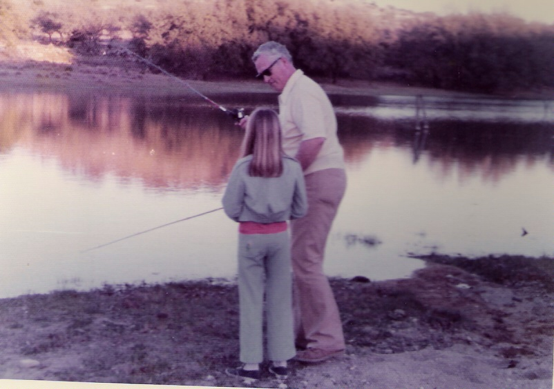 Ray teaching Lisa how to fish - 1970's